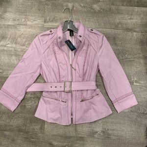 jacket with zipper and ruffle detail